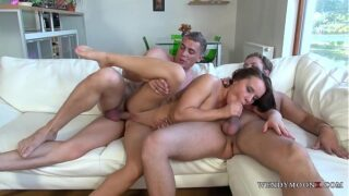 Brunette Hooker Vs Two Guys Willing to Open her Ass Hole